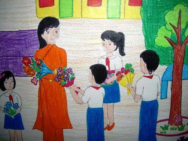 vẽ tranh trang trí hội trường ngày 20-11